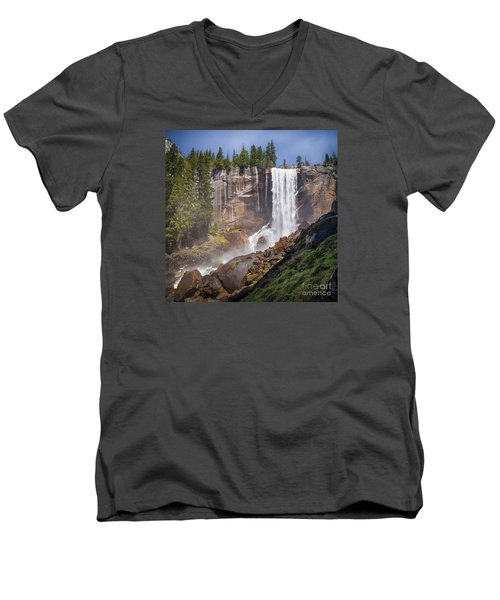 Mist Trail And Vernal Falls Men's V-Neck T-Shirt