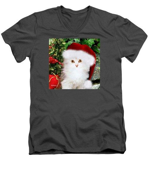 Men's V-Neck T-Shirt featuring the mixed media Mistletoe At Christmas by Morag Bates