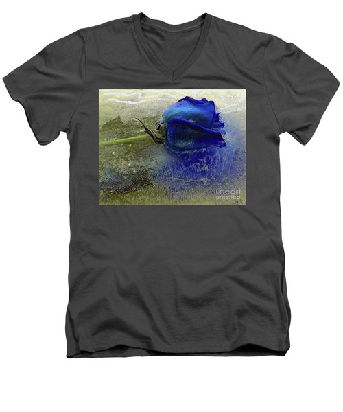 Men's V-Neck T-Shirt featuring the digital art Misty Blue by Terry Foster