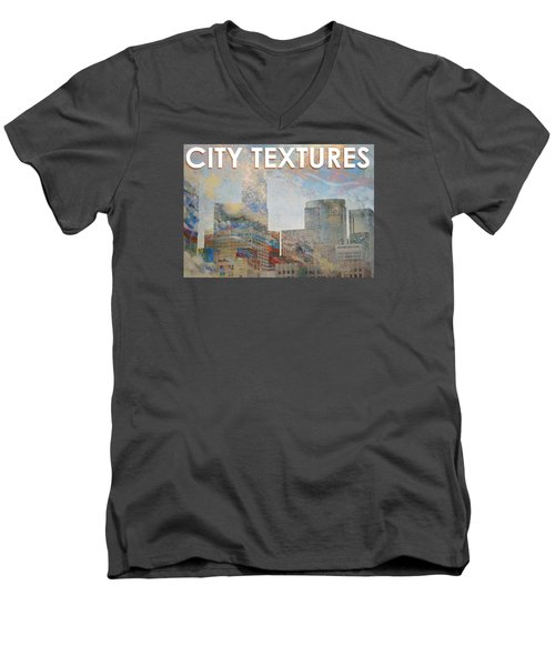 Men's V-Neck T-Shirt featuring the mixed media Misty City Textures by John Fish