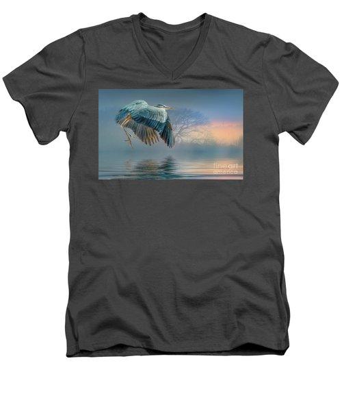 Misty Dawn Heron Men's V-Neck T-Shirt