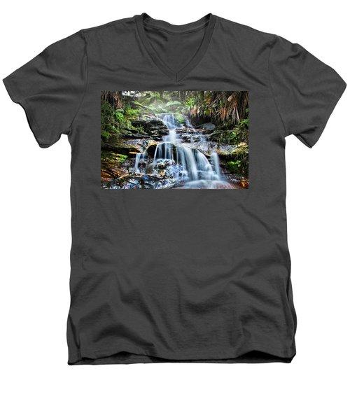 Misty Falls Men's V-Neck T-Shirt by Az Jackson