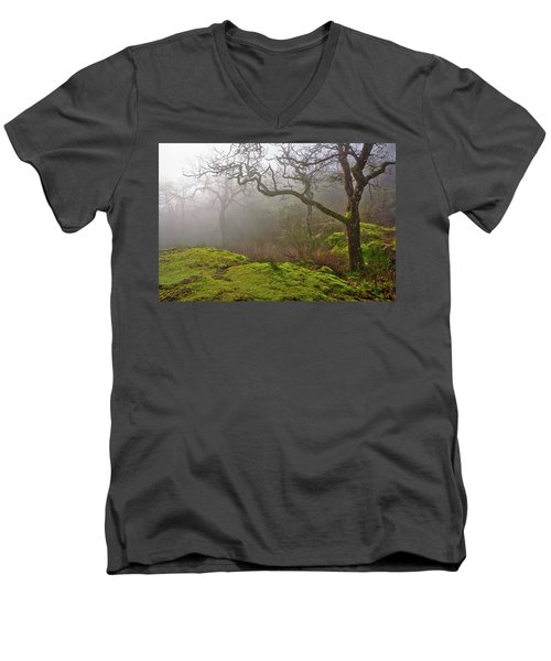 Misty Forest Men's V-Neck T-Shirt by Keith Boone
