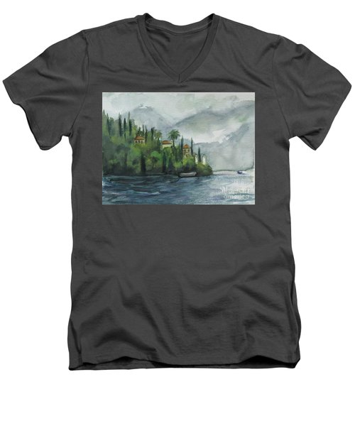 Misty Island Men's V-Neck T-Shirt by Laurie Morgan