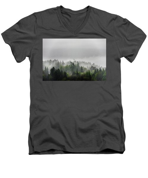 Misty Lions Gate View Men's V-Neck T-Shirt by Ross G Strachan