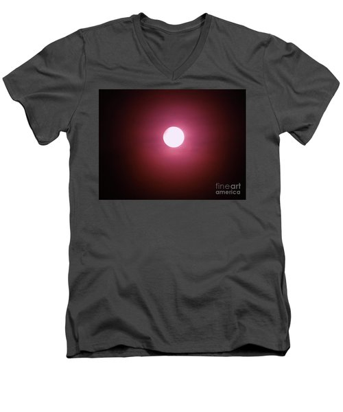 Men's V-Neck T-Shirt featuring the photograph Misty Moon by J L Zarek