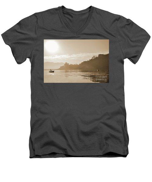 Misty Morning 2 Men's V-Neck T-Shirt by Kiran Joshi