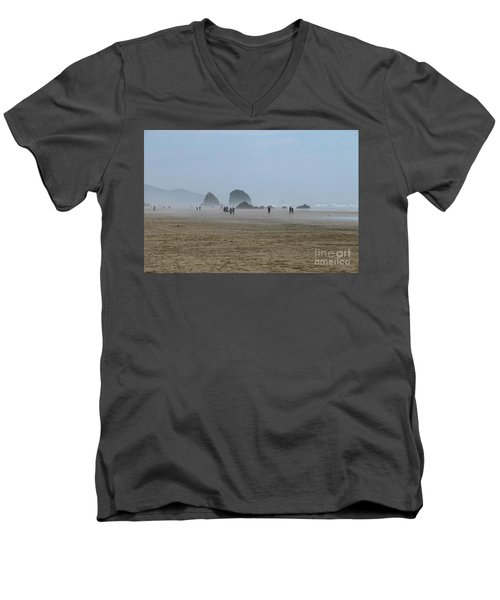 Misty Morning At Cannon Beach Men's V-Neck T-Shirt by Christiane Schulze Art And Photography