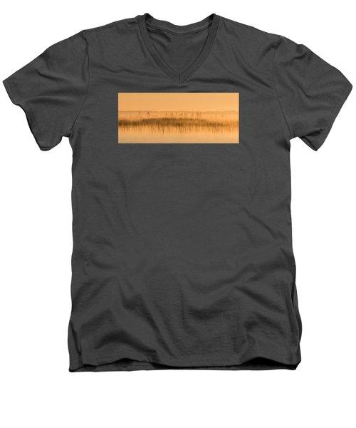 Misty Morning Floating Bog Island On Boy Lake Men's V-Neck T-Shirt by Patti Deters