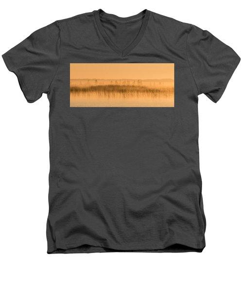Misty Morning Floating Bog Island On Boy Lake Men's V-Neck T-Shirt