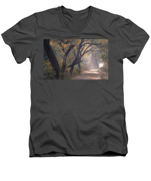 Men's V-Neck T-Shirt featuring the photograph Misty Morning, Bharatpur, 2005 by Hitendra SINKAR
