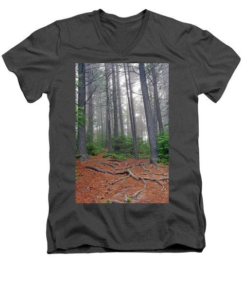 Misty Morning In An Algonquin Forest Men's V-Neck T-Shirt