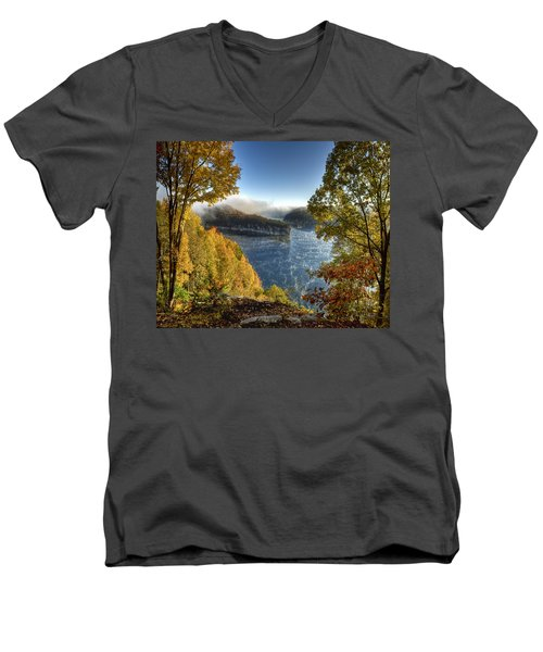 Men's V-Neck T-Shirt featuring the photograph Misty Morning by Mark Allen