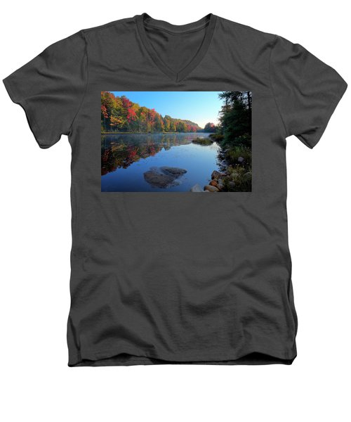 Men's V-Neck T-Shirt featuring the photograph Misty Morning On The Pond by David Patterson