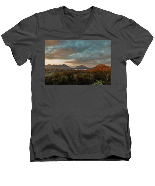 Misty Morning Over The San Diego River Men's V-Neck T-Shirt