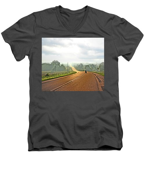 Misty Morning Ride Arkansas Men's V-Neck T-Shirt