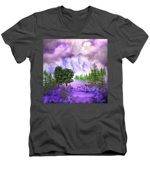 Misty Mountain Deer Men's V-Neck T-Shirt