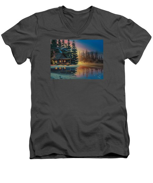 Men's V-Neck T-Shirt featuring the painting Misty Refection by Al Hogue