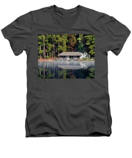Men's V-Neck T-Shirt featuring the photograph Misty Reflection At Durant by George Randy Bass