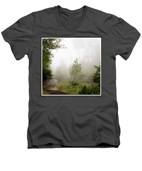 Misty Road At Forest Edge, Pocono Mountains, Pennsylvania Men's V-Neck T-Shirt