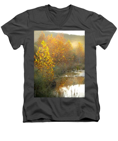 Misty Sunrise At Lost Maples State Park Men's V-Neck T-Shirt by Debbie Karnes