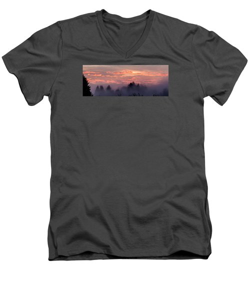 Misty Sunrise Panorama Men's V-Neck T-Shirt by E Faithe Lester