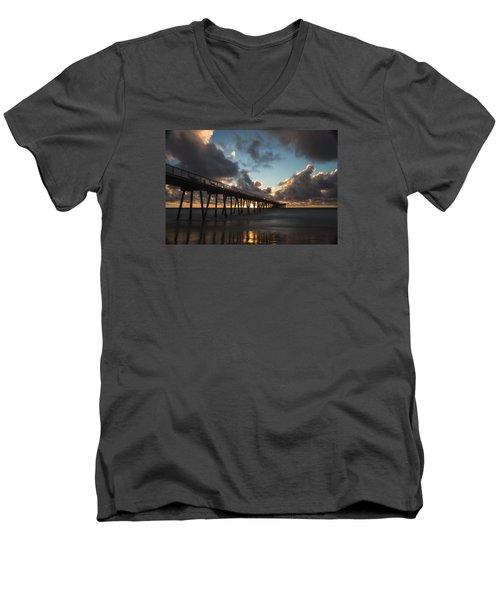 Misty Sunset Men's V-Neck T-Shirt by Ed Clark