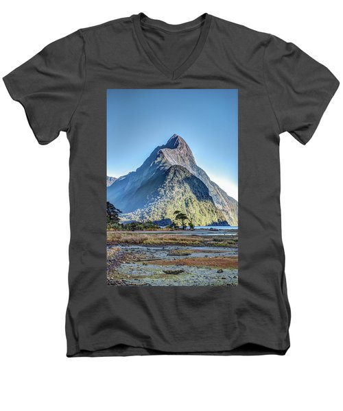 Men's V-Neck T-Shirt featuring the photograph Mitre Peak At Low Tide by Gary Eason