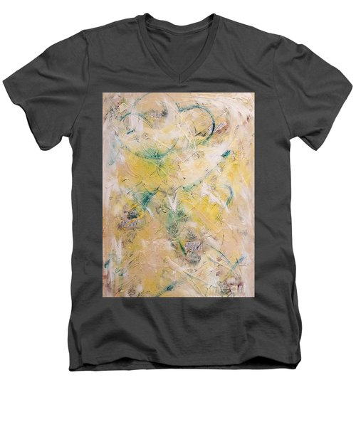 Mixed-media Free Fall Men's V-Neck T-Shirt by Gallery Messina