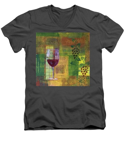 Mixed Media Painting Wine Men's V-Neck T-Shirt by Patricia Cleasby