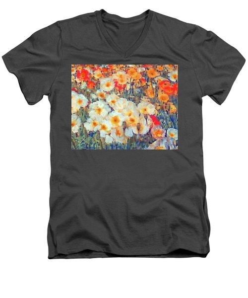 Mixed Poppies Men's V-Neck T-Shirt