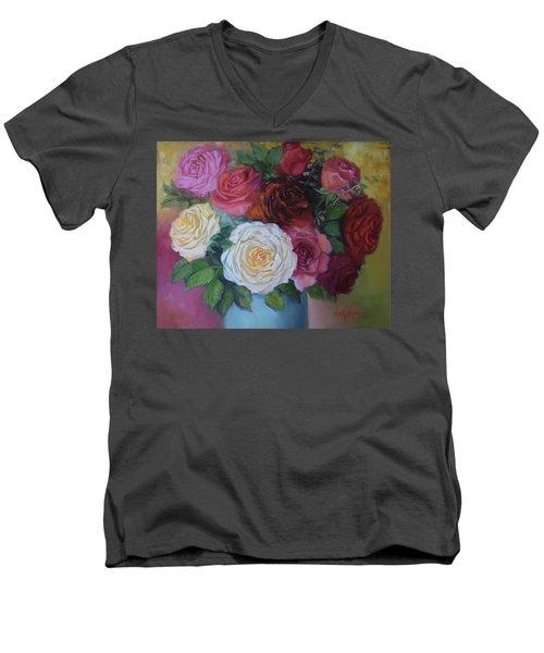 Mixed Roses In Turquoise Vase Men's V-Neck T-Shirt