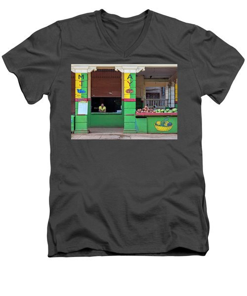 Men's V-Neck T-Shirt featuring the photograph Mjay Fruit Stand Havana Cuba by Charles Harden