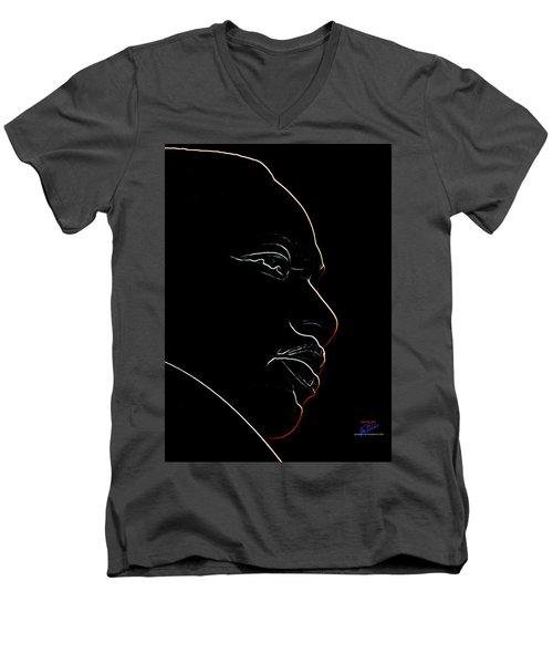 Mlk Red Outline Men's V-Neck T-Shirt