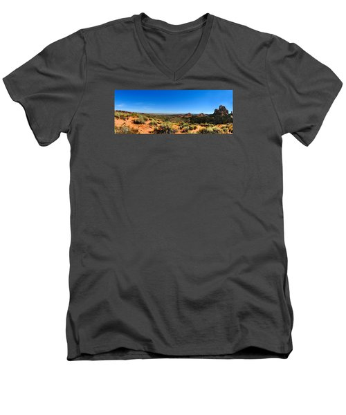 Moab Retrospective Men's V-Neck T-Shirt by Laura Ragland