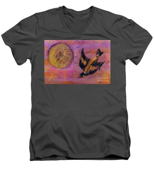 Men's V-Neck T-Shirt featuring the mixed media Mockingbird by Desiree Paquette
