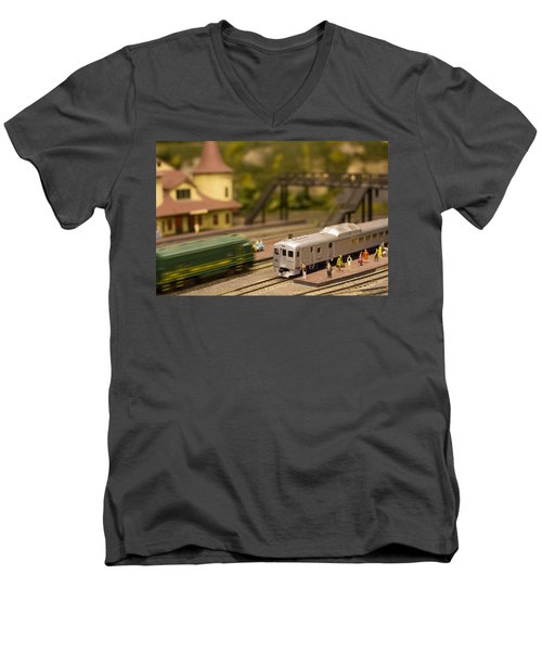 Men's V-Neck T-Shirt featuring the photograph Model Trains by Patrice Zinck