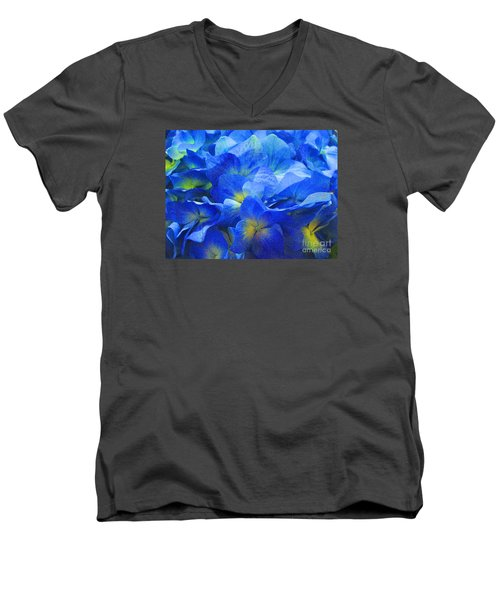 Men's V-Neck T-Shirt featuring the photograph Modern Art - Floral In Blue by Merton Allen