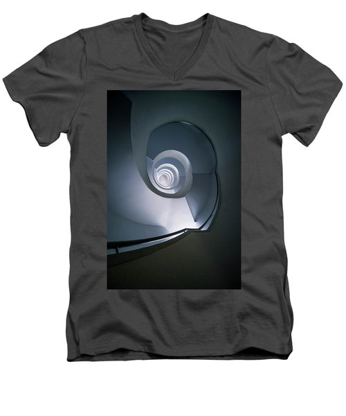 Men's V-Neck T-Shirt featuring the photograph Modern Blue Spiral Staircase by Jaroslaw Blaminsky