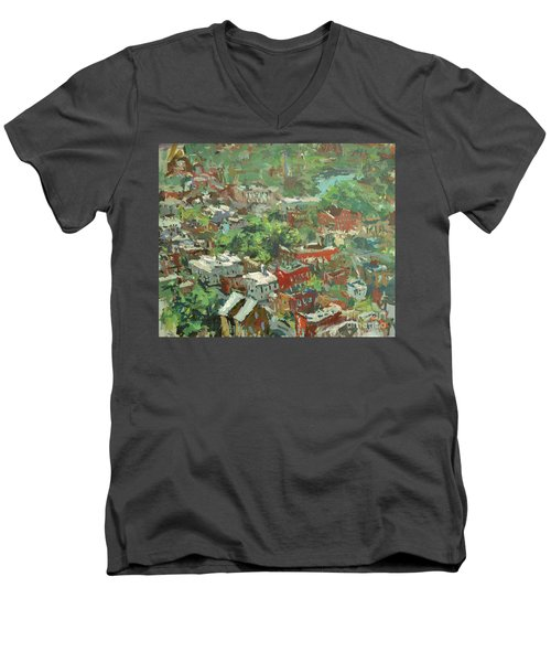Men's V-Neck T-Shirt featuring the painting Modern Cityscape Painting Featuring Downtown Richmond Virginia by Robert Joyner