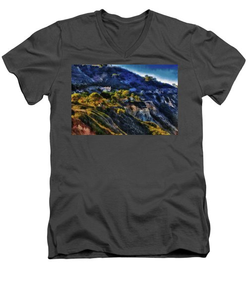Modern Cliff Dwellers Men's V-Neck T-Shirt by Joseph Hollingsworth