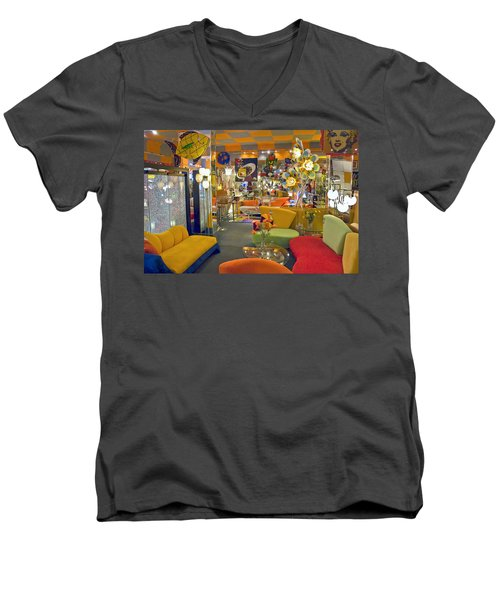 Men's V-Neck T-Shirt featuring the photograph Modern Deco Furniture Store Interior by David Zanzinger