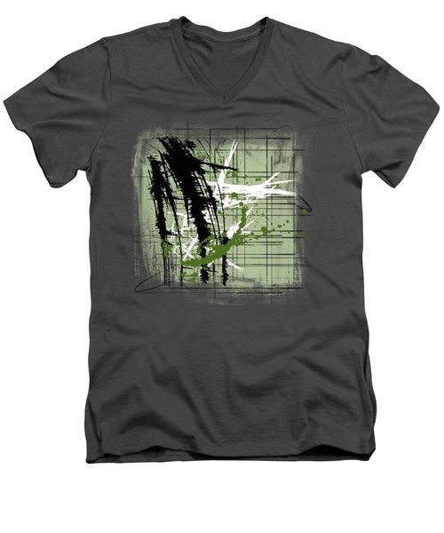 Modern Green Men's V-Neck T-Shirt by Melissa Smith