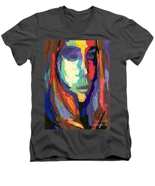 Men's V-Neck T-Shirt featuring the digital art Modern Impressionist Female Portrait by Rafael Salazar
