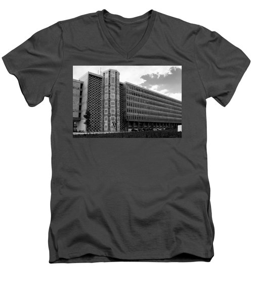 Men's V-Neck T-Shirt featuring the photograph Modern Lisbon - The Palace Of Justice by Lorraine Devon Wilke