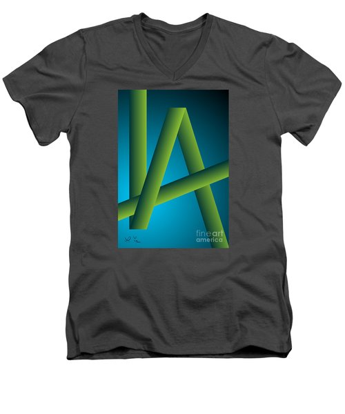 Men's V-Neck T-Shirt featuring the digital art Modus by Leo Symon