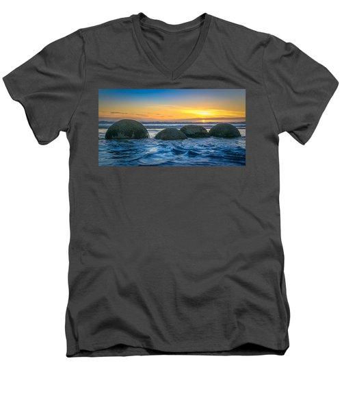 Moeraki Sunrise Men's V-Neck T-Shirt by Martin Capek