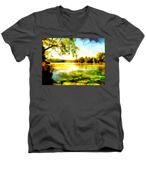 Men's V-Neck T-Shirt featuring the painting Mohegan Lake Hidden Oasis by Derek Gedney