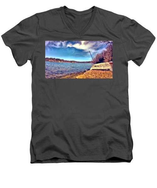 Men's V-Neck T-Shirt featuring the painting Mohegan Lake Lonely Boat by Derek Gedney