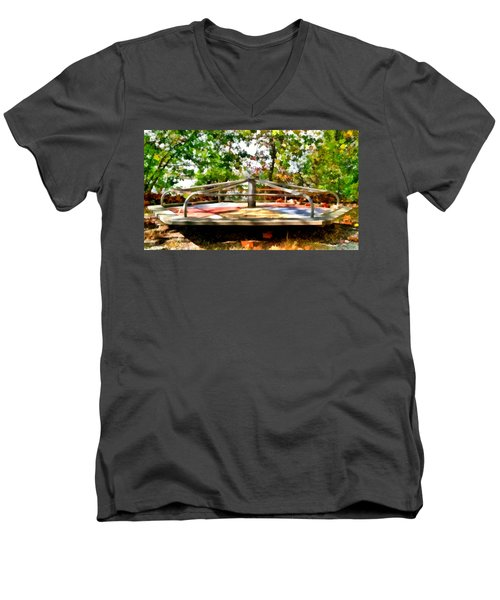Men's V-Neck T-Shirt featuring the painting Mohegan Lake Merry-go-round by Derek Gedney